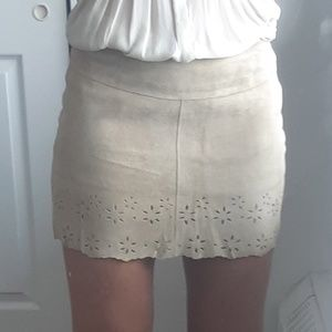 Laser cut Suede leather mini skirt- AnneX